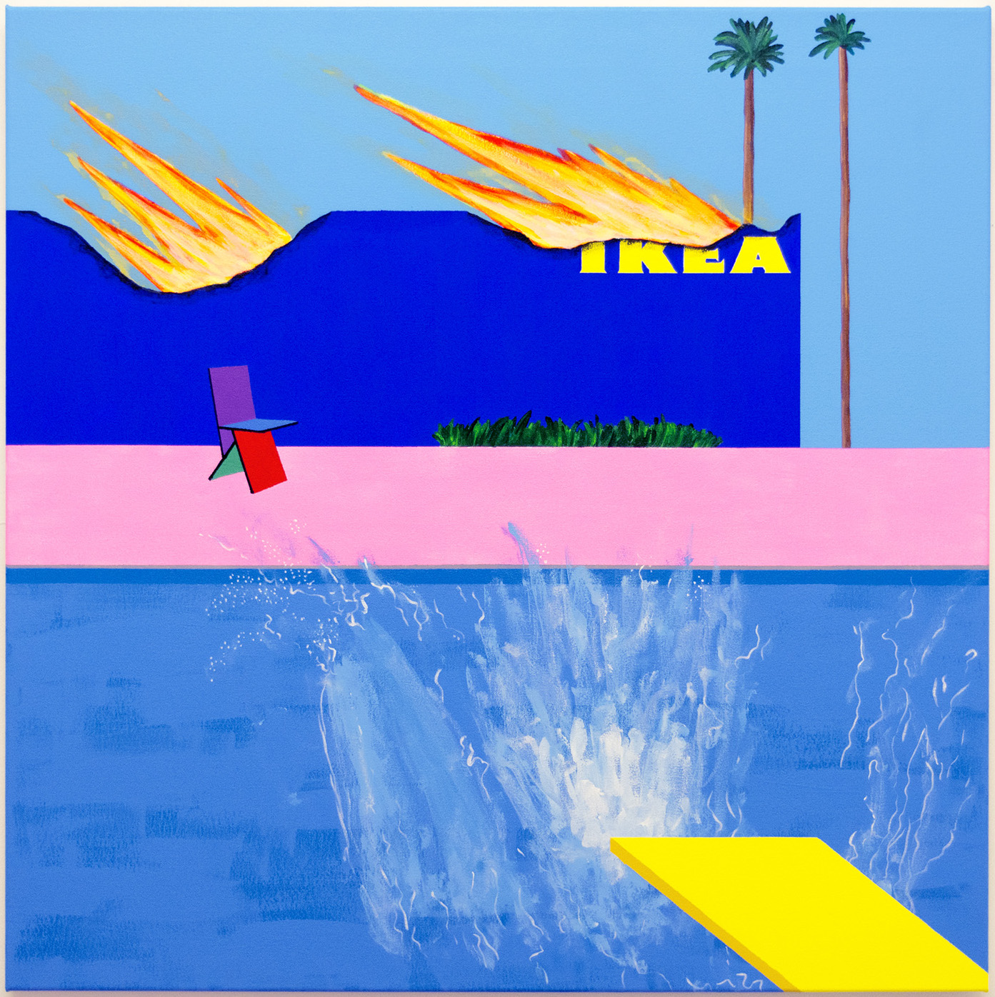 Michael Pybus, A Bigger Splash, 2017, acrylic and permanent pigmented ink on canvas, 100 x 100 cm